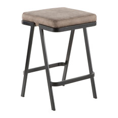 Lumisource Seven Counter Stool, Black Metal and Gray Cowboy