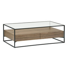 Coffee Table, Engineered Wood With Glass Top and 2 Drawers