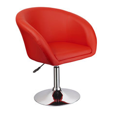 Adjustable Swivel Faux Leather Coffee Chair, Red