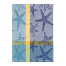 """100% Cotton Blue and Yellow Dish Towel, Starfish Blue, 20""""x28"""", Set of 6"""