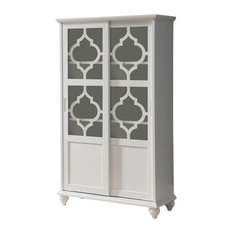 Pilaster Designs   Callum Wood Curio Bookcase With Sliding Glass Doors,  White   China Cabinets