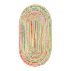 Baby's Breath Braided Oval Rug, Light Yellow, 5'x8'