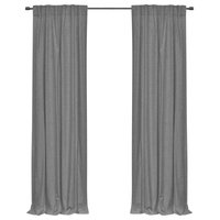 "96"" Long Solid Cotton Curtain Panel, Grey"