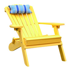 Outdoor Poly Lumber Folding and Reclining Adirondack Chair, Yellow