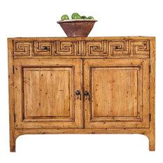 Cupboard Greek Key Paneled Doors Flush Top