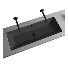 Rectangular Small Matte Black Ceramic Undermount Sink, No Hole