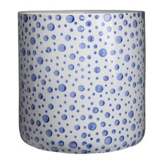 Round Ceramic Pot Planter with Blue Spotted Design, Gloss Off-White, Large