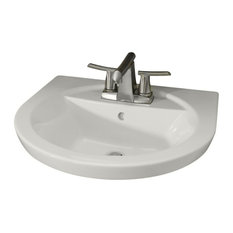 "Tropic Petite 21"" Center Pedestal Sink Basin, 4"" Faucet Centers, White"