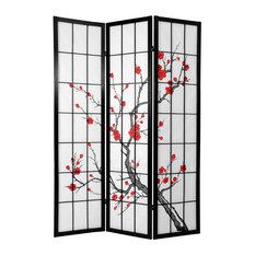 6' Tall Cherry Blossom Shoji Screen, Black, 3 Panels