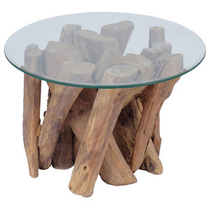 vidaXL Coffee Table With Solid Teak, 60 cm
