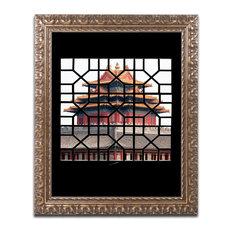 "Philippe Hugonnard 'Temple I' Ornate Framed Art, 14""x11"""