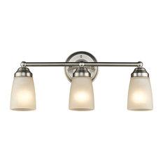 chloe lighting hemsworth 3light vanity fixture white frosted glass brushed nickel