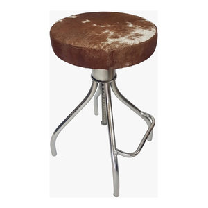 Round Cowhide Bar Stool Cerus With Silvered Industrial
