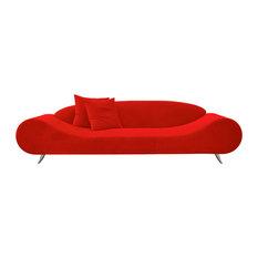 Harmony Sofa, Chrome Plated Steel Tubes Base, Red Velvet