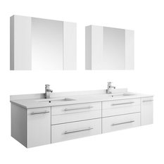 """Lucera Wall Hung Double Undermount Sink Vanity, Medicine Cabinets, White, 72"""""""