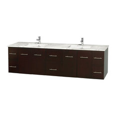 "Centra 80"" Espresso Double Vanity, White Carrera Marble Top, Drop-In Square Sink"