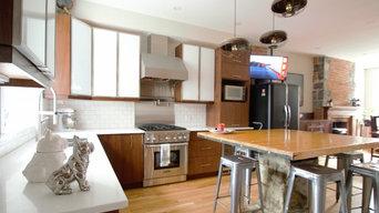Walnut and White Glass Kitchen