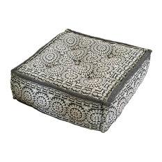 Grey Square Moroccan Pouffe