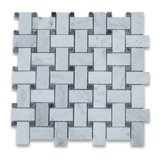 "12""x12"" Carrara White Basketweave Mosaic, Azul Macaubas Blue Dots Honed"