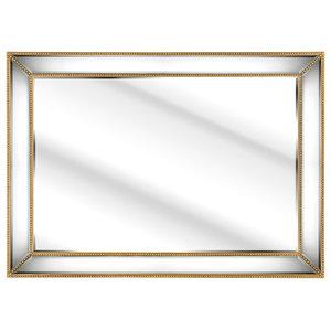 Gold Beaded Framed Rectangular Wall Mirror, 140x55 Cm