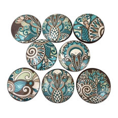 8 Piece Set Turquoise and Brown Paisley Cabinet Knobs