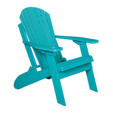 Deluxe Premium Poly Lumber Folding Adirondack Chair With Cup Holder, Aruba Blue
