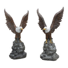 """44""""H Wings Up Concrete Eagle Statues, Pair in Detail Painted Finish"""