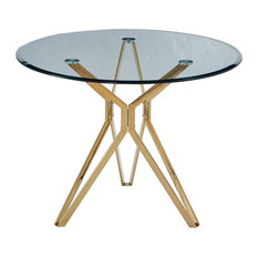 Artisan Furniture Liesl 39-inch Round Glass Dining Table With Gold Chrome Base