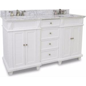 "Elements 60"" Douglas Double Vanity Sink Bowl Faucet Set in White or Black, White"