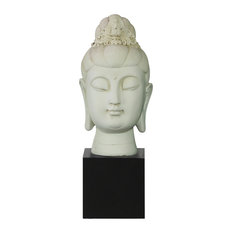 Resin Buddha Head Sculpture With Floral Ushnisha on Base, Cream