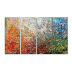 """""""Board Stained Abstract Art"""" Glossy Metal Wall Art, 48""""x28"""" 4 Panel"""