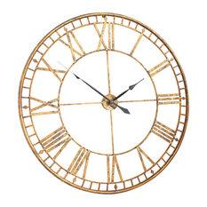 Large Roman Giant Vintage Skeleton Wall Clock, Gold