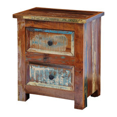 VidaXL Reclaimed Solid Wood Bedside Cabinet With 2 Drawers