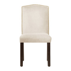 Powell Nail Button Camel Back Dining Chair, Regal, White