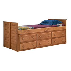 Twin Bed With 6-Drawer, Mahogany Stain