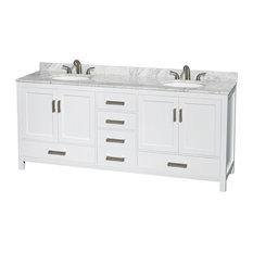 "Double Bathroom Vanity, Countertop, Undermount Oval Sinks, No Mirror, White, 80"""