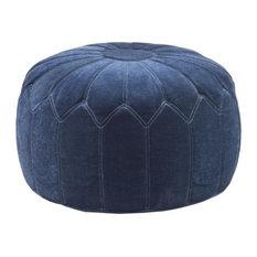 Madison Park Signature - Kelsey Round Pouf Ottoman, Blue - Floor Pillows and Poufs