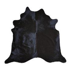 Brazilian Cowhide Rug, Dyed Black, 6'x8'