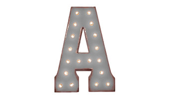 """21"""" Letter A Metal Marquee Light Up Sign, Rustic Gray, Plug-in, Stand, With Base"""
