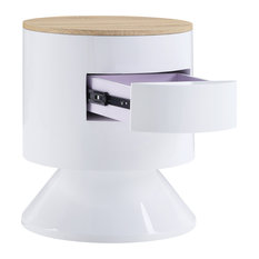 1 Drawer Pyramidal Base Circular Wooden Night Table White and Brown by Benzara Woodland Imprts The Urban Port