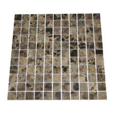 "12""x12"" Emperador Dark Polished Marble Mosaic, Small Piece Sample"