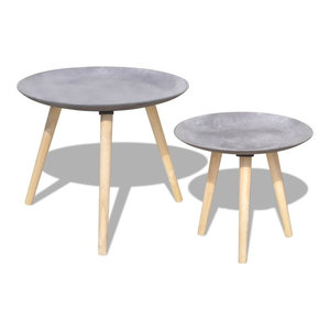 vidaXL Two Piece Side Table Set, Grey