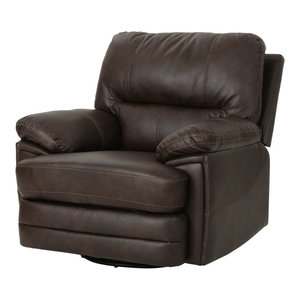 Marvelous Gdf Studio Everette Brown Leather Power Recliner With Arm Pdpeps Interior Chair Design Pdpepsorg