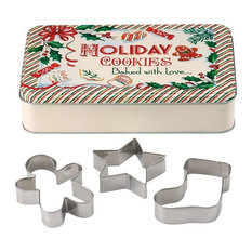 Rectangular Tin With 3 Cookie Cutters