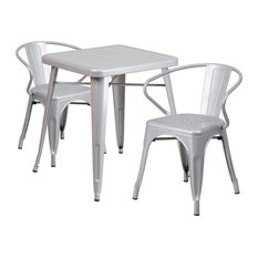 Brimmes 3-Piece Table Set Square 23.75'' Silver With 2 Arm Chairs