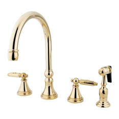 Gourmetier Two Handle Kitchen Faucet Polished Br