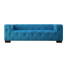 Us Pride Furniture Corp   Ossett Tufted Elegant Chesterfield Sofa, Teal  Blue   Sofas
