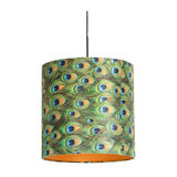 Black hanging lamp with velor shade peacock with gold 40 cm - Combi
