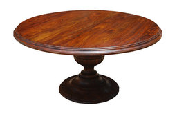 """Rustic 60"""" Round Wood Dining Table With Pedestal Base"""