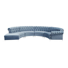 Anabella Velvet Sectional Sky Blue 4 Piece
